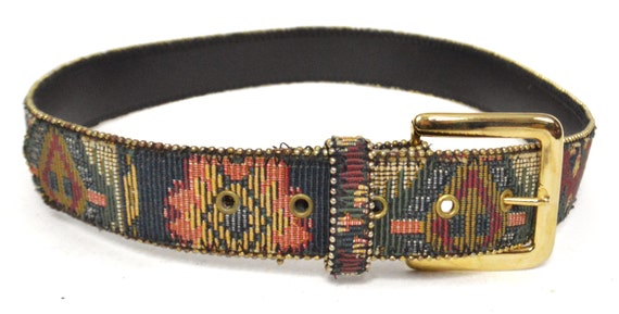 Vintage 90s Tapestry-Style Stitched Ethnic Boho Hippie Bonded Leather Belt