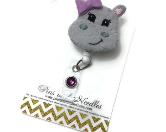Veterinarian ID Badge Reel - Hippo Retractable Badge Reel - Hippopotamus Badge Holder - Cute ID Badge Reel - Nurse Gift -Hippo ID Badge Reel