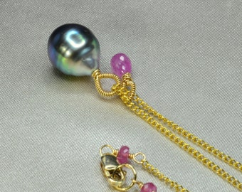 Large Tahitian Baroque Pearl with Pink Sapphire Briolette Necklace