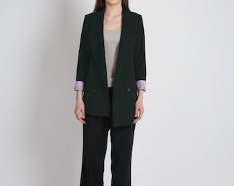 Summer Wool Nietzsche Asymmetric Jacket_Dark Green-Black