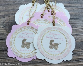 Baby Shower Favor Tags - Shades of Light Pink/Ivory/Gold - Vintage-Style - Personalized - baby shower, birthday - set of 12
