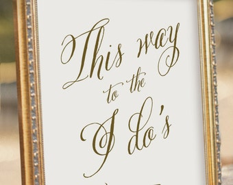 Arrow Wedding sign - This Way Sign - Wedding Reception Sign - digital PDF file