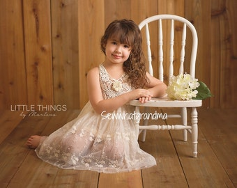 2T, Cream Flower Girl Dress, Bohemian, Vintage Theme Wedding, Birthday Girl Lace Dress, Cowgirl Lace Gown, Cowboy Wedding