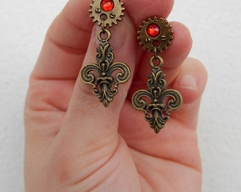 "Steampunk style stud earrings ""Fleur-de-Steam"" with gears in bronze tone and a touch of red"