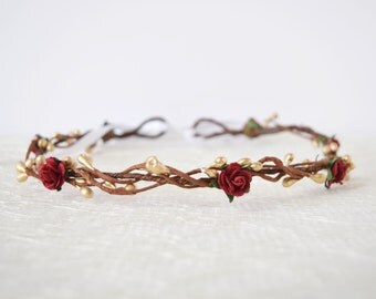 Rose Flower Crown, red rose flower crown, gold pip, winter wedding, bridal flower crown, flowergirl garland, floral crown, bridesmaid, FAITH