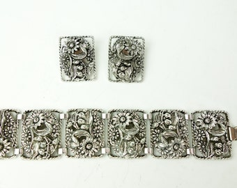 Sarah Coventry set, bracelet and earring set, silver tone, floral flower clip on earrings, heavy statement piece