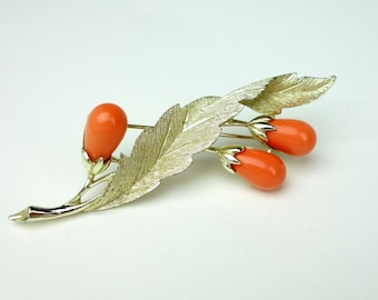 Sarah Coventry brooch, gold tone leaf brooch with orange flower buds