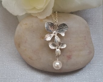 Sterling Silver Necklace, Cascading Orchid Necklace, Wedding Jewelry, Bridesmaid Jewelry