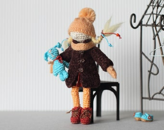 Crochet doll, collectable miniature doll with clothes and toy bunny, winter girl, gift for doll collectors, crochet art, micro knitting