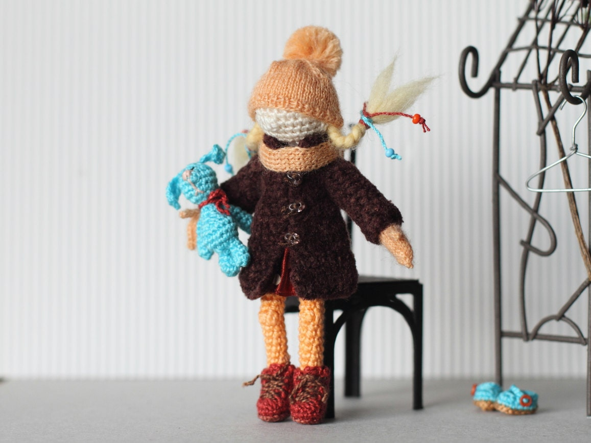 Crochet Mini Doll Clothes : Crochet doll collectable miniature doll with clothes and toy