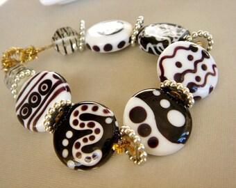 SRA Lampwork Beads, Brown and White, Glass Bead Set, Destash Lampwork Beads, - 6 beads