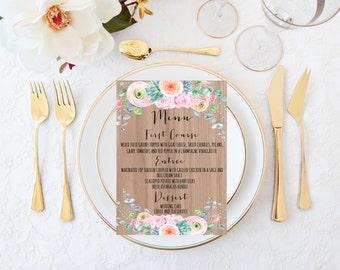 Printable wedding menu, Wedding menu, Succulent wedding menu, Rustic wedding menu, Floral wedding menu, Wedding menu, Desert wedding menu