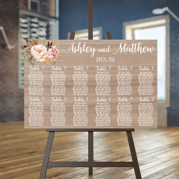Rustic Wedding Seating Chart Ideas: Wedding Seating Chart Printable Wood Guests List Printable