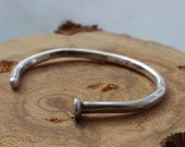 Sterling Silver Nail Cuff Bracelet, Custom Handmade, Raw, Organic, Hand Forged Copper Nail, Hammered Sterling Cuff Bracelet, Modern Design
