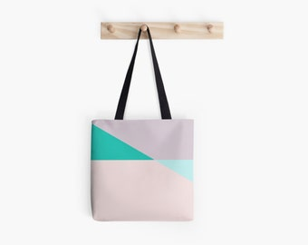 Pastel Triangle Pink Based Tote Bag