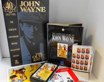 Vintage John Wayne The Quiet Man  1952-1992  40th Anniversary Deluxe Collector's Edition Book, VHS, Posters and Stamps