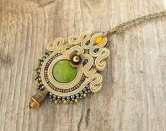 Hazel soutache pendant, embroidered light brown pendant, hazel beaded pendant necklace, brown pendant, handmade pendant