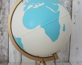 """Hand Painted Mint, White and Gold Globe 