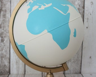 "Hand Painted Mint, White and Gold Globe | 10"" Diameter 