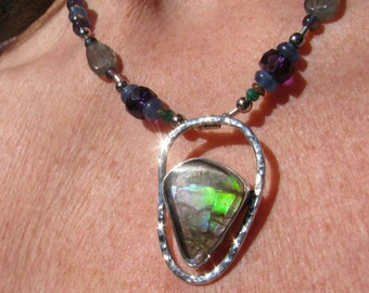 Amonite Fossil Gemstone Necklace and Solid Sterling Silver   signed by Artist MetalSmith DAC
