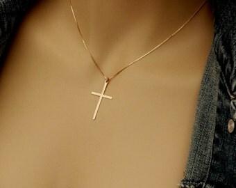 "14k Rose Gold Cross Necklace, Solid Rose Gold Cross Necklace, 14k Minimalist Cross Necklace, (almost 3/4"" x 1 1/4"") Solid Rose Gold Cross"