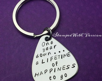 One year anniversary Gift -Personalized guitar pick Keychain -