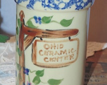 Alpine Pottery Spooner Cup Blue Sponged Rim Numbered 83/100 Roseville