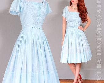Vintage 1950s baby blue with lace detail day dress - XS to SM full skirt rockabilly pinup