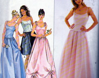 Simplicity 8499, Misses Size 18, 20 and 22 Bustier Top and Full Evening Length Skirt, Prom Dress, Bridesmaid Dress, Sleeveless  Gown