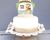Caravan wedding topper - shabby chic style personalised cake topper