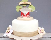Camper Van wedding topper - shabby chic style personalised cake topper