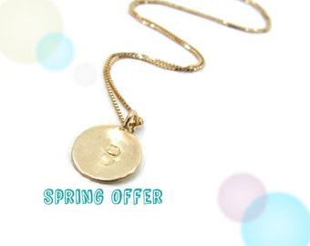 14k gold necklace. Initial pendant. Letter charm necklace. Personalized necklace. Gold pendant necklace. Gold initial necklace. Gift ideas