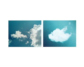 Blue Sky Fine art photography Heart cloud print Set of 2 fine prints Mint Blue Teal wall art decor Nature Photo art Love cloud Nursery decor