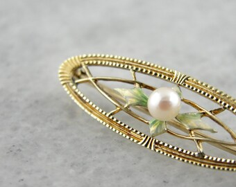 Antique Enamel and Pearl Pin from The Art Nouveau Era 1MZ943-D