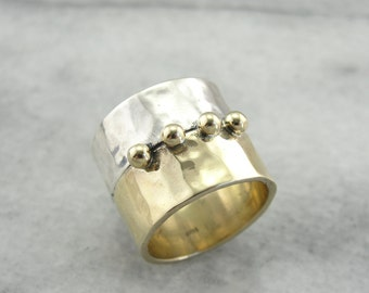 Modernist Statement Ring of Silver & Yellow Gold X5MP8H-R