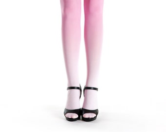 Ombre tights pale pink to pink