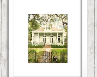 New Orleans Garden District Cottage:  NOLA Watercolor Art Print, Architecture Home Decor, Cottage Fine Art, Living Room Bedroom Wall Art