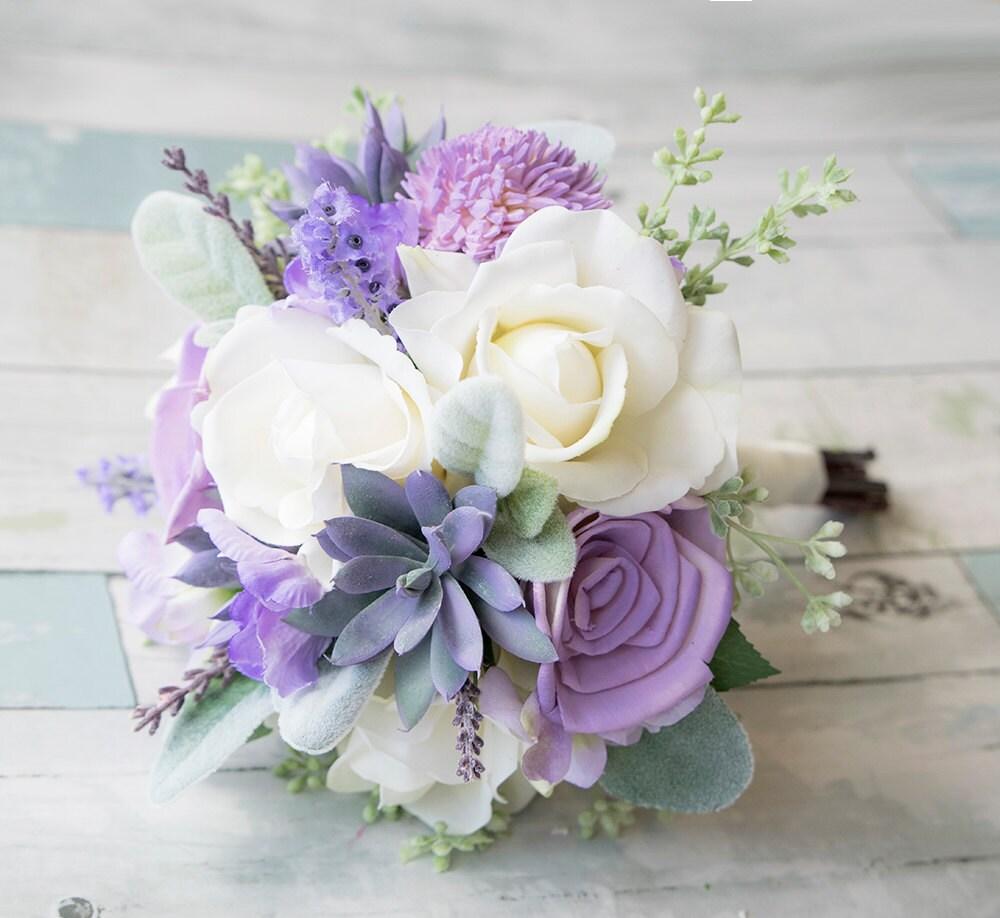 Lush Lilac Wedding Succulent Roses And Sprays Silk Flower