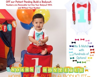 Circus Birthday Outfit Boy - Baby Boy Carnival Shirt - Boys First Birthday - Red and Aqua Turquoise - Circus Party - Birthday Shirt