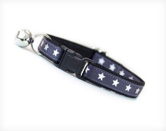 """Cat Collar - """"Secret Agent"""" - Silver Stars on Charcoal Gray  - Breakaway Safety Buckle or Non-Breakaway - Sizes for Cat, Kitten, Small Dog"""