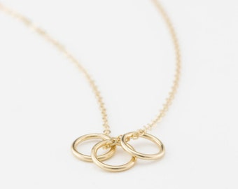 Friendship Necklace, Family, Love... Perfect Gift for Her • Dainty Ring Necklace in 14k Gold Filled, Sterling Silver and Rose Gold