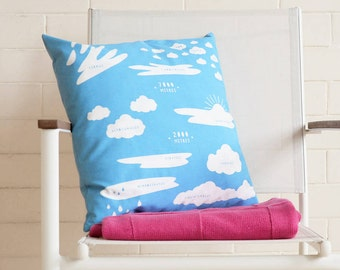 CLOUD TYPES CUSHION Cover. Blue and White Meteorology Homeware Teenager Gift 40 cm 16 inch Square Print Sky Science Astronomy Interesting Uk