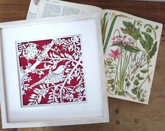 Ready to ship Framed paper cut Birds in Branches - Handcut paper art - Papercutting artwork -  Paper cut art - Scherenschnitte - Bird paper