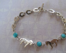 Horse Shoe Silver and Turquoise Bracelet - Horse Bracelet