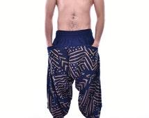 Ancient Pattern Style Samurai pants, Trouser, Baggy pants, Yoga 100% Cotton(Unisex) One Size Fit All Man and women