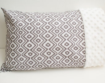 Travel or Toddler Size Pillowcase - Gray and White Aztec Pattern on Cotton With White Minky Edge - For 12x16 or 13x18 Inch Pillow