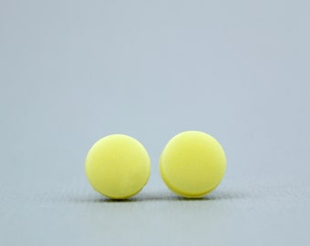 Yellow Studs, Pastel Yellow Earrings, Pale Yellow Earrings, Lemon Earrings, Lemon Studs, Iridescent  Earrings, Pastel Accessories
