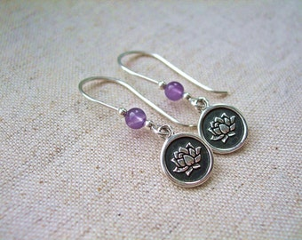 Sterling Silver Lotus Charm Earrings with Amethyst