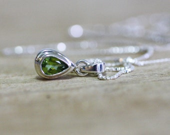 Natural Untreated Peridot Bezel Pendant in Solid Sterling Silver , August Birthstone ,  16th Anniversary , Healing Gem , From Canada