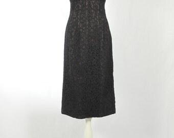 1950s Vintage black lace dress